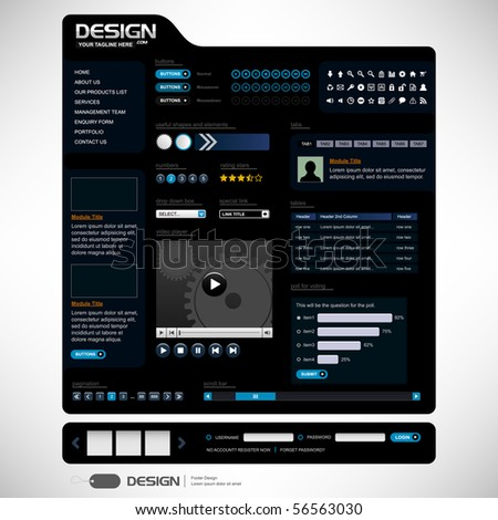 Website Web Design Elements Dark Black Template