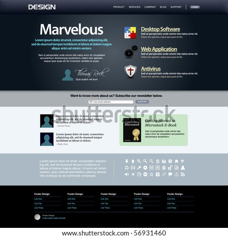 Website Web Design Elements Dark Template