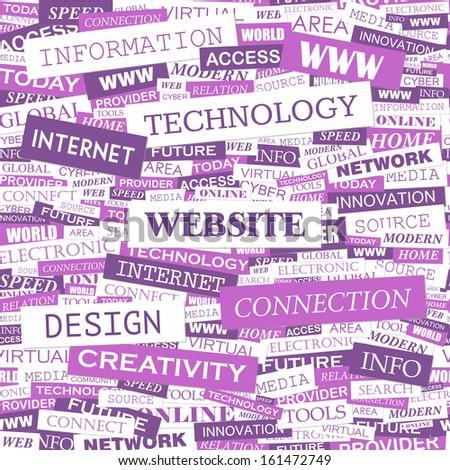 WEBSITE. Word cloud illustration. Tag cloud concept collage. Vector illustration.