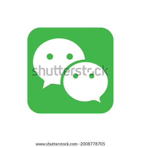 WeChat Line Whatsapp Linkedin facebook multi-purpose messaging, social media and mobile payment app developed Tencent symbol icon vector template