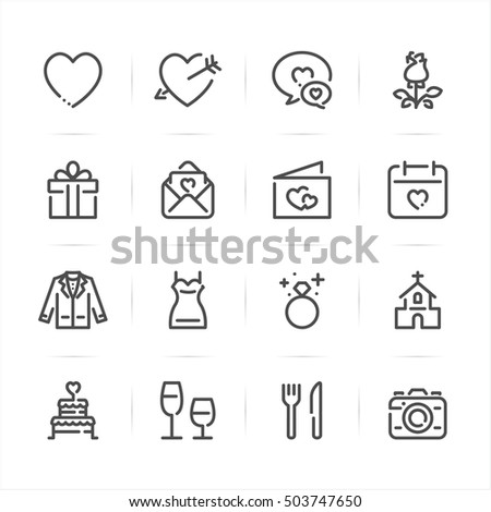 Wedding and Love icons with White Background