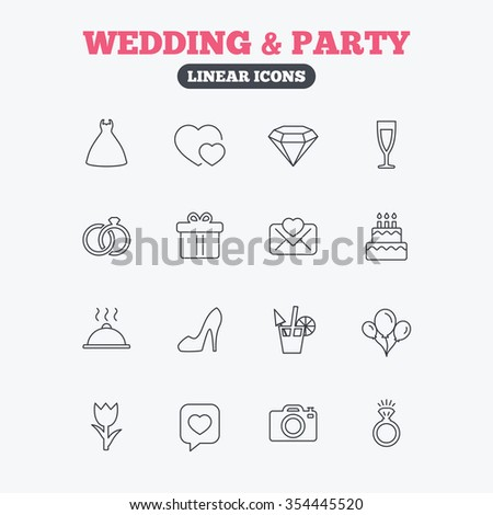 Wedding and party icons. Dress, diamond and rings. Gift box, invitatiom letter and rose flower. Speech bubble with heart and photo camera. Linear icons on white background.