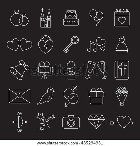 Wedding and Party linear black and white icons