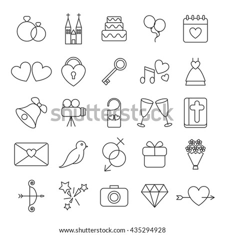 Wedding and party linear icons set