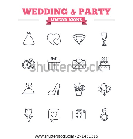 Wedding and party linear icons set. Dress, diamond and rings. Gift box, invitatiom letter and rose flower. Speech bubble with heart and photo camera. Thin outline signs. Flat vector