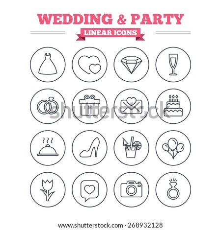 Wedding and party linear icons set. Dress, diamond and rings. Gift box, invitation letter and rose flower. Speech bubble with heart and photo camera. Thin outline signs. Flat vector