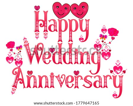 Wedding Anniversary. Happy Anniversary. Anniversary wish. Marriage anniversary. Husband wife marriage. Word art label. Love emoticon stickers.  Pink hearts rose flower butterflies vector pattern. Photo stock ©