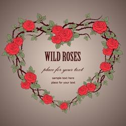 Wedding background Vintage frame with wild roses