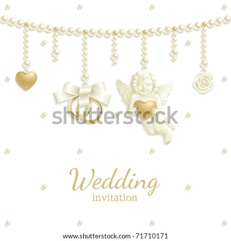 Wedding background with rings, pearls and other jewels