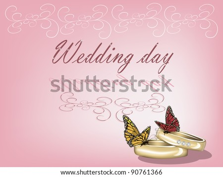 Wedding background with two rings and butterflies