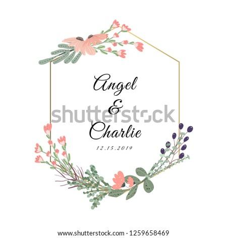 wedding badge with beautiful floral frame #1259658469