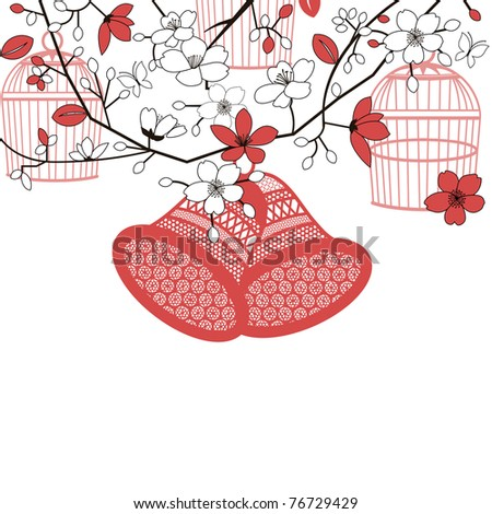 stock vector Wedding bells garden flowers tree birdcages