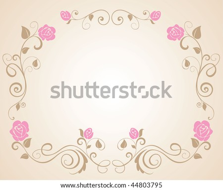stock vector Wedding border with rose
