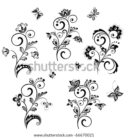 stock vector Wedding borders black and white