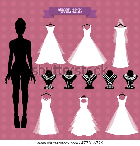 Wedding bride. Accessories and clothes store. Wedding dress shop. Vector illustration. Wedding white dress.