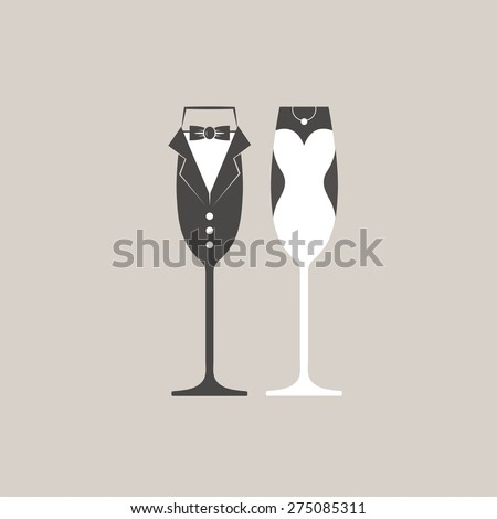 stock-vector-wedding-bride-and-groom-champagne-flutes-glasses-vector