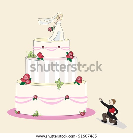 wedding cake and a happy couple