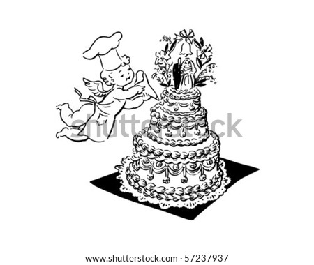 stock vector Wedding Cake And Cherub Retro Clip Art