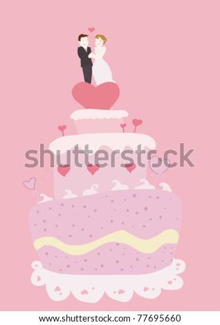 Wedding cake and couple on pink background.