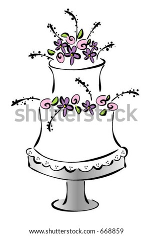 stock vector wedding cake illustration