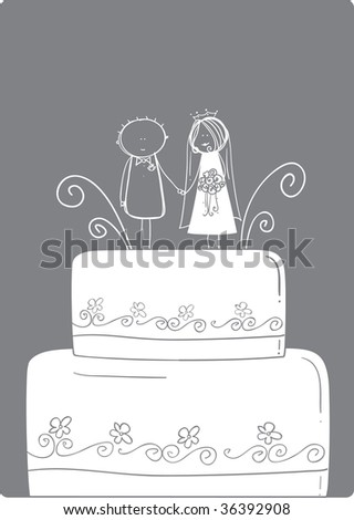 stock vector Wedding Cake Topper