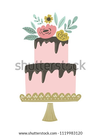 Wedding cake vector illustration with chocolate frosting and floral decoration. Retro vintage wedding or birthday cake for invitations, greeting cards and other.