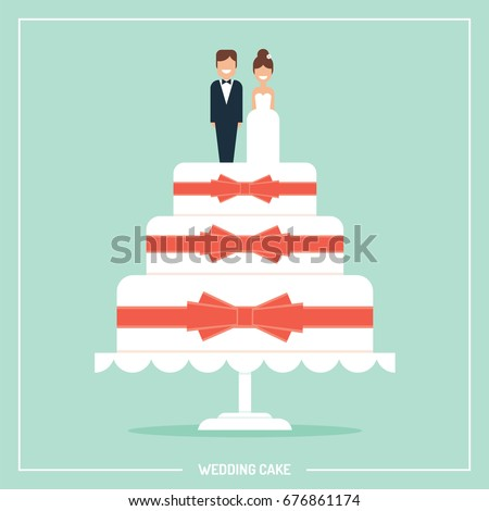 Wedding cake with bows and toppers bride and groom vector illustration/ greeting card