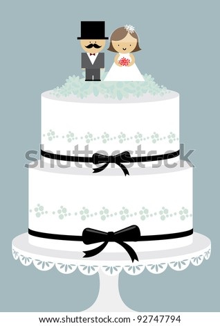 wedding cake with couple vector/illustration - stock vector