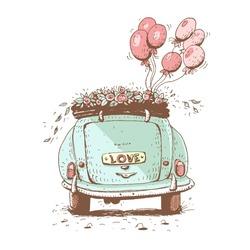 Wedding car , vector  illustration.