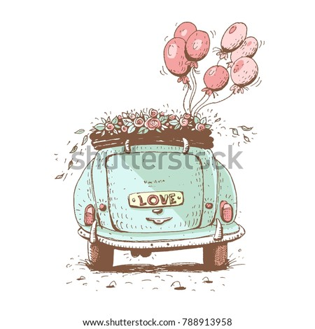 Wedding car , vector  illustration.