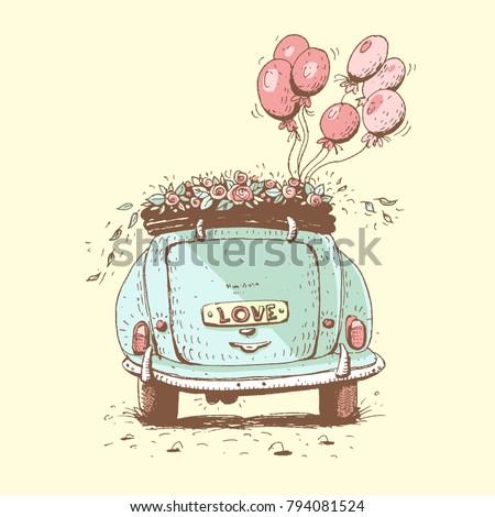 Wedding car, vector illustration.
