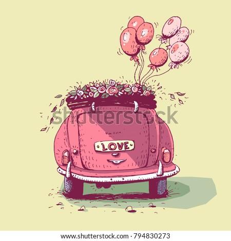 Wedding car, vector illustration. #794830273