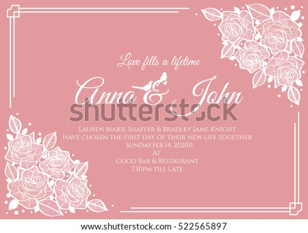 Wedding card - abstract white rose floral frame on pink background vector template design