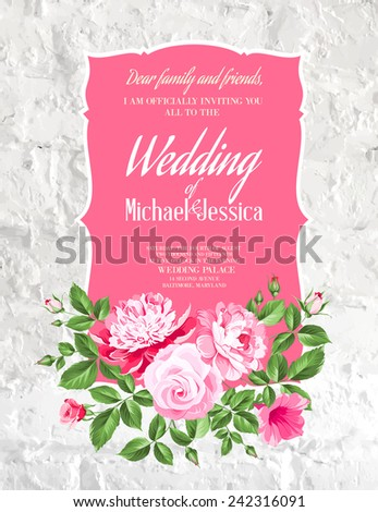 Wedding Card and engagement announcement Wedding of Michael and Jessica Vector illustration