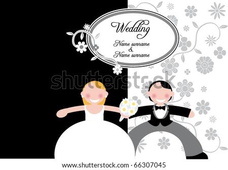 stock vector wedding card black background
