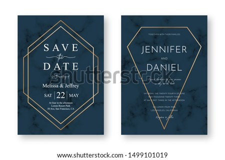 Wedding card design with golden frames and marble texture. Save the date. Wedding invitation and announcement design template with geometric patterns and luxury background. Vector #1499101019