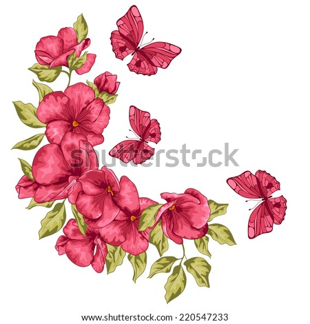 Wedding card Flowers and butterfly Vector illustration Greeting card for Mothers Day