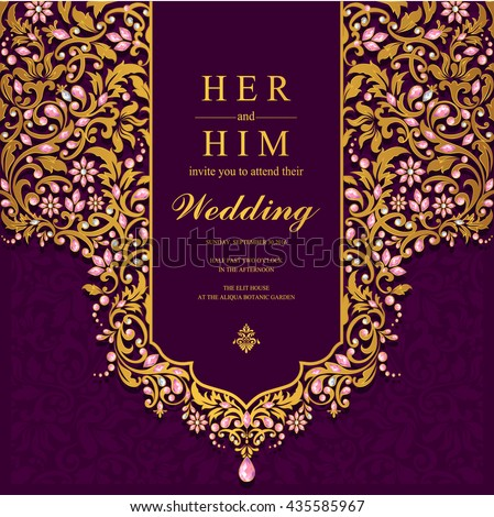 Wedding Card, Invitation Card, Or Card With Abstract Background. Islam,  Arabic,