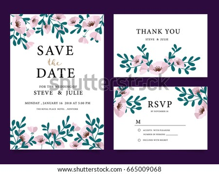 wedding card invitation template with text  #665009068