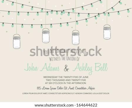 Wedding Card Invitation with Mason Jars Hanging in Vector
