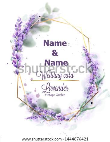 wedding card lavender wreath