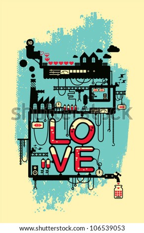Wedding card/ love factory/ valentine's day card poster deign