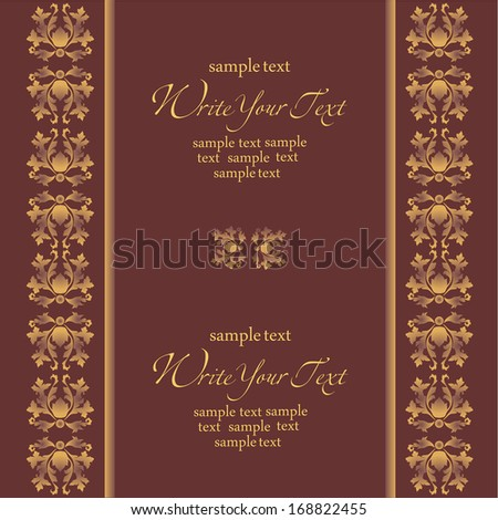 Wedding card or invitation with abstract damask background. Abstract greeting card.
