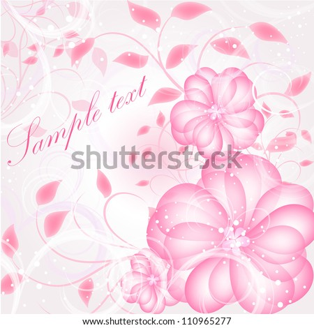 Wedding card or invitation with abstract floral background. Abstract greeting card