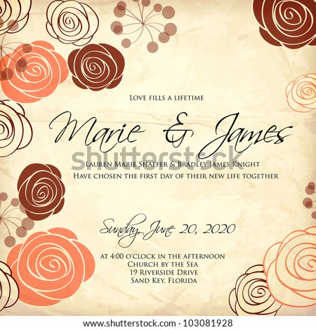 Wedding card or invitation with abstract floral background. Greeting card in grunge or retro style. Elegance pattern with flowers roses, floral illustration in vintage style Valentine