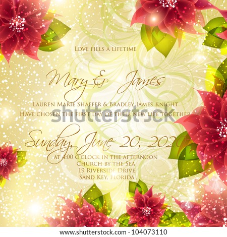 Wedding card or invitation with abstract floral background. Greeting card in grunge or retro style. Elegance pattern with flowers roses, floral illustration in vintage style Valentine. Classic.