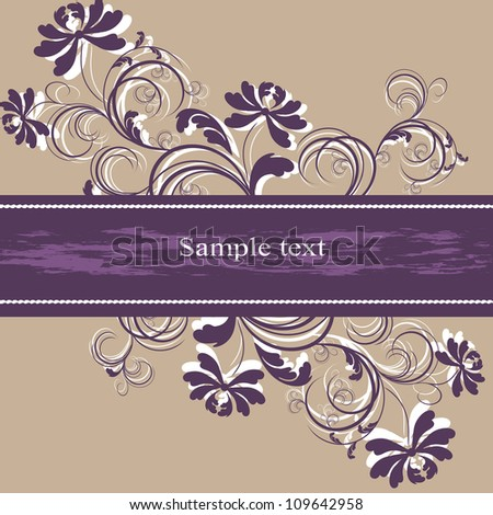 Wedding card or invitation with abstract floral background. Greeting card in grunge or retro style. Elegance pattern with flowers.