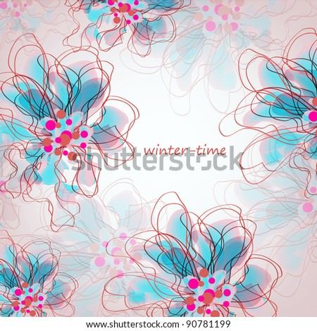 Wedding card or invitation with abstract floral background. Greeting card in grunge or retro style. Elegance Seamless pattern with flowers roses, floral illustration in vintage style