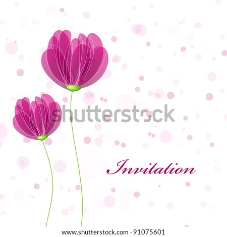 Wedding card or invitation with abstract floral background. Greeting card in grunge or retro style. Elegance pattern with flowers roses, floral illustration in vintage style
