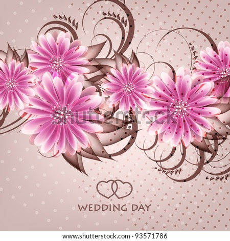 Wedding card or invitation with abstract floral background. Greeting card in grunge or retro style. Elegance pattern with flowers roses, floral illustration in vintage style Valentine.